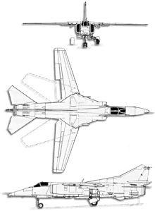 Plan 3 vues du Mikoyan-Gurevich MiG-27  'Flogger'