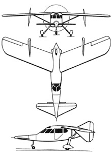 Plan 3 vues du Mikoyan-Gurevich MiG-8 Utka