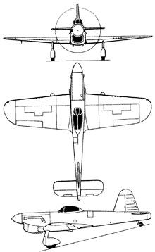 Plan 3 vues du Miles M.20