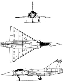Plan 3 vues du Dassault Aviation  Mirage 2000