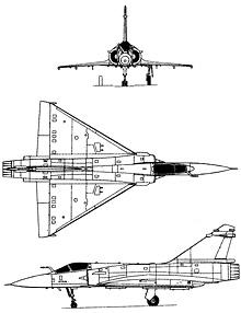 Plan 3 vues du Dassault Aviation  Mirage 2000