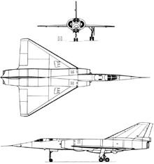 Plan 3 vues du Dassault  Mirage IV