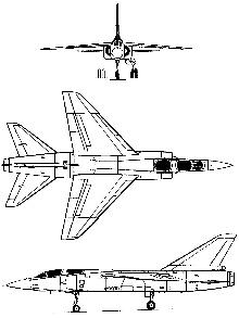 Plan 3 vues du Dassault Mirage F2