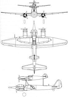 Plan 3 vues du Junkers  Mistel