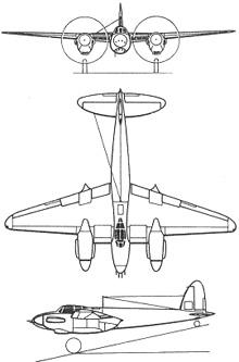 Plan 3 vues du De Havilland D.H.98 Mosquito