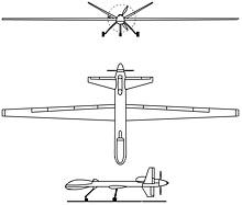 Plan 3 vues du General Atomics MQ-9 Reaper
