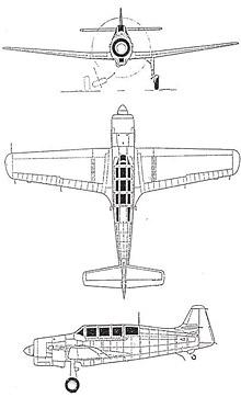 Plan 3 vues du Morane-Saulnier MS.470 Vanneau