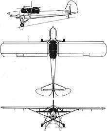 Plan 3 vues du Morane-Saulnier MS.500 Criquet