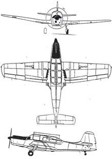 Plan 3 vues du Morane-Saulnier MS.733 Alcyon