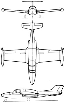 Plan 3 vues du Morane-Saulnier MS.760 Paris