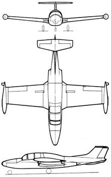 Plan 3 vues du Morane-Saulnier MS.760 Paris