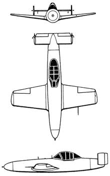 Plan 3 vues du Yokosuka MXY-7 Ohka 'Baka'