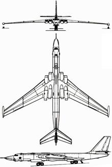 Plan 3 vues du Myasishchev  Mya-4/M-4 Molot 'Bison'