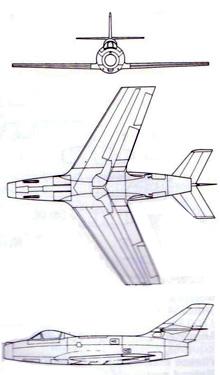 Plan 3 vues du Dassault MD.452 Mystère II