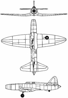 Plan 3 vues du Caproni-Campini N.1