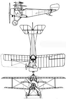 Plan 3 vues du Nieuport XI Bébé