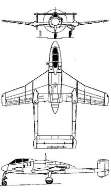 Plan 3 vues du Sud-Ouest SO.8000 Narval