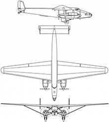 Plan 3 vues du Farman NC.223