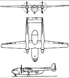 Plan 3 vues du Nord N.2501 Noratlas