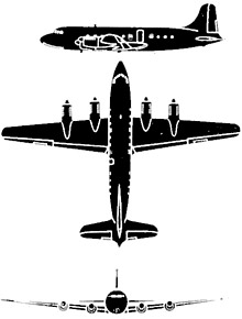 Plan 3 vues du Canadair CL-2/DC-4M North Star