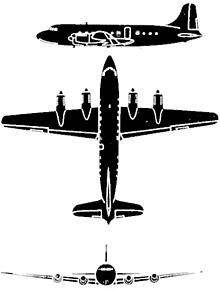 Plan 3 vues du Canadair CL-2/DC-4M North Star