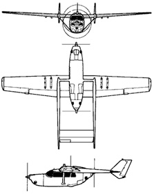 Plan 3 vues du Cessna O-2 Skymaster