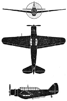 Plan 3 vues du North American O-47