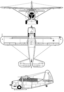 Plan 3 vues du Curtiss O-52 Owl