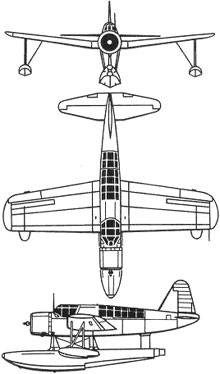 Plan 3 vues du Vought OS2U Kingfisher