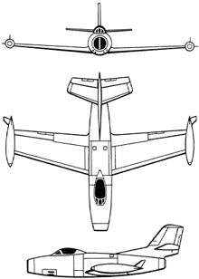 Plan 3 vues du Dassault MD.450 Ouragan