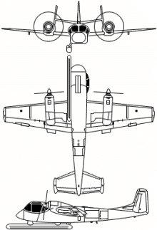 Plan 3 vues du Grumman OV-1 Mohawk