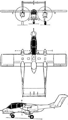 Plan 3 vues du North American-Rockwell OV-10 Bronco