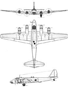 Plan 3 vues du Piaggio P.108
