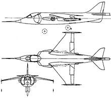 Plan 3 vues du Hawker-Siddeley P.1127 Kestrel