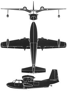 Plan 3 vues du Piaggio P-136