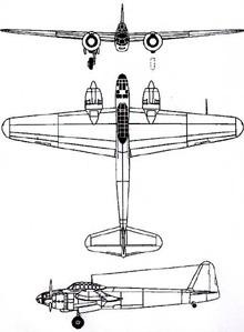 Plan 3 vues du Yokosuka P1Y Ginga 'Frances'