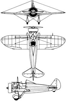 Plan 3 vues du Boeing P-26 Peashooter