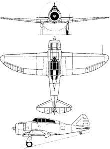 Plan 3 vues du Seversky P-35