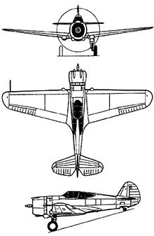 Plan 3 vues du Curtiss P-36 Hawk