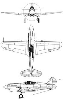 Plan 3 vues du Curtiss P-40 Warhawk