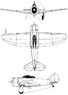 Plan 3 vues du Republic P-43 Lancer