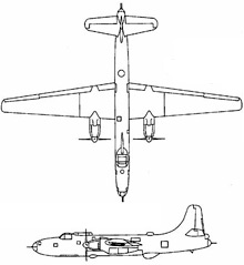 Plan 3 vues du Martin P4M Mercator