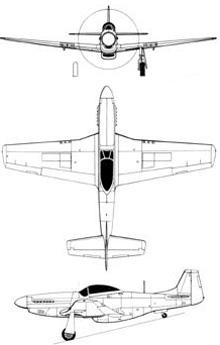 Plan 3 vues du North American P-51 Mustang