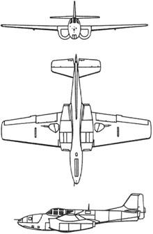 Plan 3 vues du Bell P-59 Airacomet