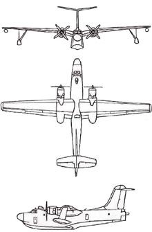 Plan 3 vues du Martin P5M Marlin
