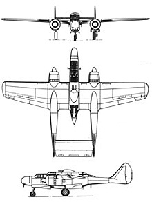Plan 3 vues du Northrop P-61 Black Widow