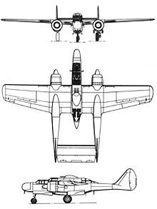 Plan 3 vues du Northrop P-61 Black Widow