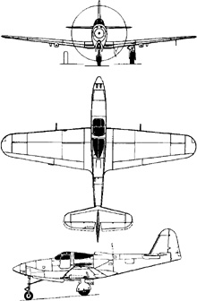 Plan 3 vues du Bell P-63 Kingcobra