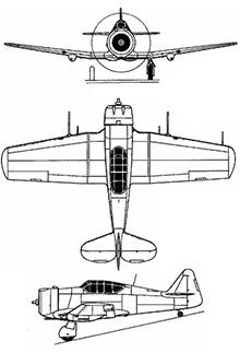 Plan 3 vues du North American P-64 / NA-50