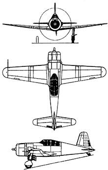 Plan 3 vues du Vultee P-66 Vanguard